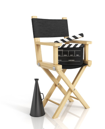 film role: Illustration of director chair, and over filmmaker equipment, over white background.