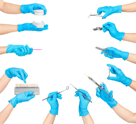 collection of hands holding dental tools isolated on white background