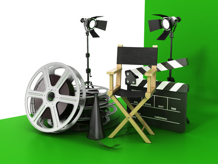 filmroll: Video, movie, cinema concept. Light, film strip, reels, clapperboard and director chair on the green film background.
