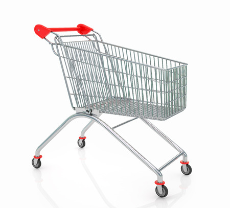 carretilla de mano: Vaciar carrito de la compra aislados en fondo blanco