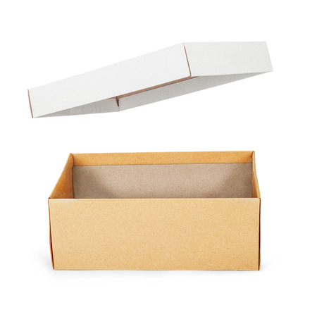 shoe box: Brown shoe box on white background. For shoes, electronic device and other products. Stock Photo