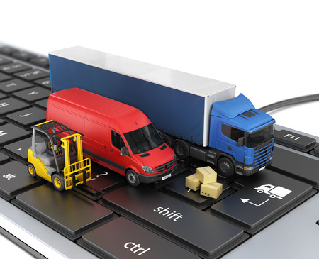 courier man: Concept of online order delivery. Delivery vehicles.