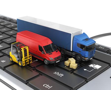 Concept van online levering van bestellingen. Bestelwagens.