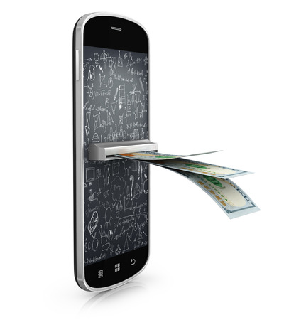 mobile paying sistem concept, dollars in smartphone screen Banco de Imagens