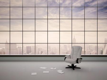 papeles oficina: 3d ilustraci�n de una silla en una oficina vac�a