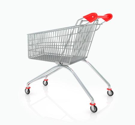 carretilla de mano: Carro de compras aisladas sobre fondo blanco
