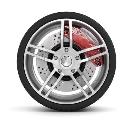 brake caliper: Super car disc-brake. Car wheel.