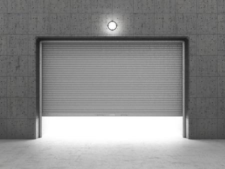 Garage Gebäude aus Beton mit Rollladentüren.