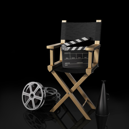 Illustration of director chair, and over filmmaker equipment, over black background.