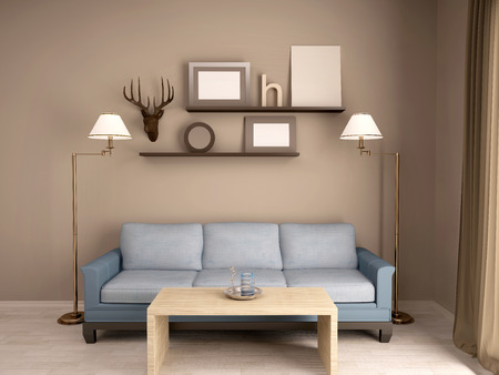 home accents: 3D Illustration Of Interior Living Room With A Sofa And Shelves Stock Photo
