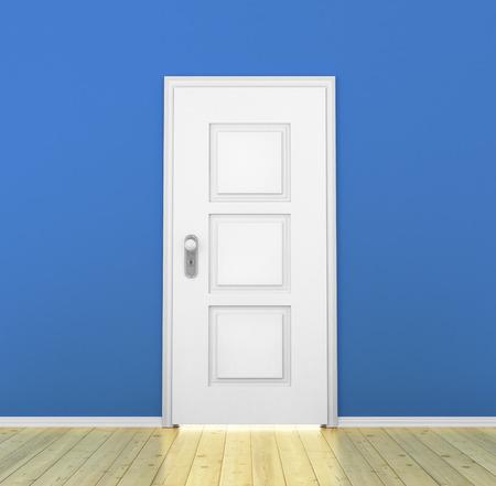 white door: Closed white door in a empty blue room Stock Photo