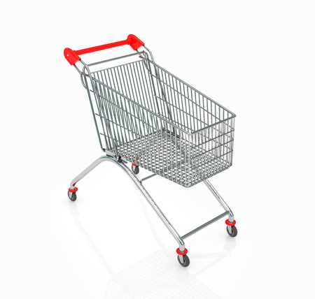 carrito de helados: Empty  shopping trolley isolated on white background Foto de archivo