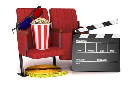 theater seat: Cinema clapper board, popcorn and 3d glasses on theater seat. cinematography concept.