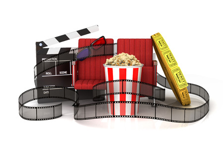 theater seat: Cinema clapper board, popcorn, 3d glasses, theater seat and tickets wrapped film strip.