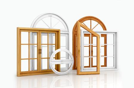glasscheibe: Gruppe Fenster auf weißem Hintergrund