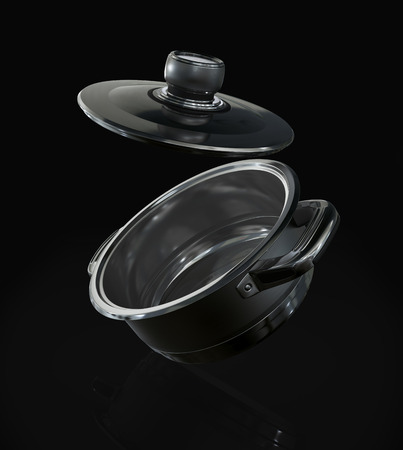 steel pan: Cacerola de acero con la tapa abierta en el fondo negro. Foto de archivo