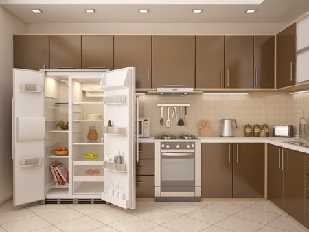 3D illustration of kitchen interior with an open refrigerator 스톡 콘텐츠