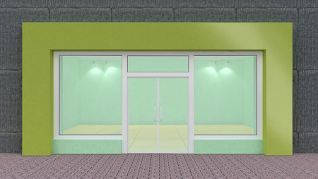 hollow wall: Empty green Store Front with Big Windows