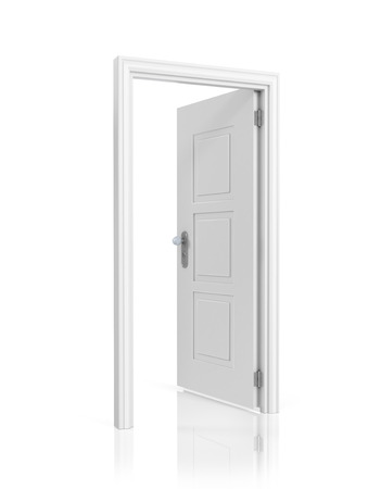 opened: White blank opened door template, isolated on white background. Stock Photo