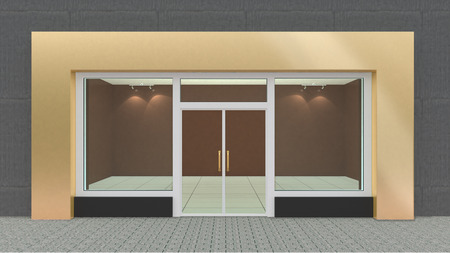 Lege Gold Store Front met grote ramen Stockfoto