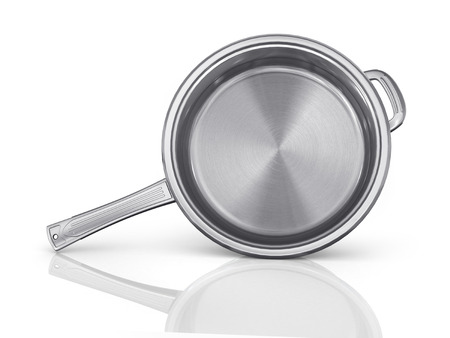 panful: Steel pan with open cap on the white background.