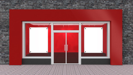 store front: Empty Red Store Front with Big Windows with border Stock Photo