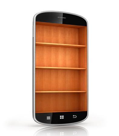 wooden shelf: smartphone isolated on a white background with wooden shelf