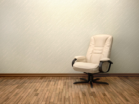 elbow chair: 3D Illustration Of Beige Office Chair In The Interior