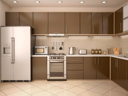 contemporary interior: 3D Illustration Of Modern Style Kitchen Interior