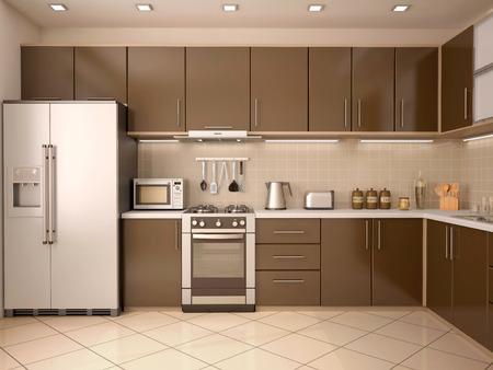 microondas: 3D Ilustración De Estilo Moderno interior de la cocina