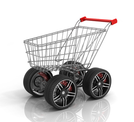Shopping cart with big car wheel on the white background. Fast shopping concept. Trolley for auto parts. Stock Photo