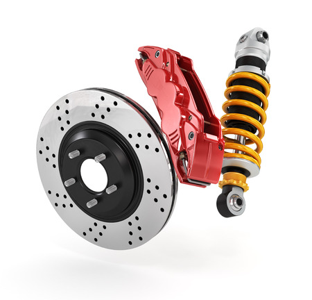 brakes: Car brakes with absorbers. Stock Photo