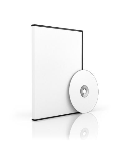 disk: box for DVD with  disk and disk Stock Photo