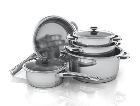 metal steel: Set of cooking pots.