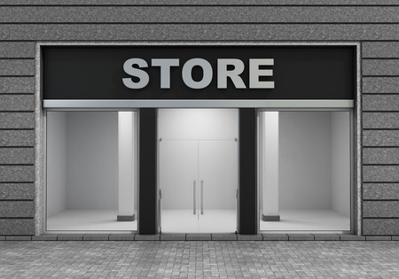 windows and doors: Modern Empty Store Front with Big Window. Stock Photo