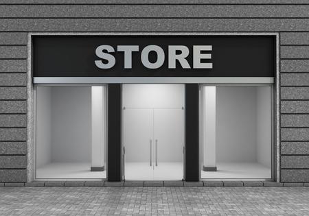 Modern Lege Store Front met groot raam.