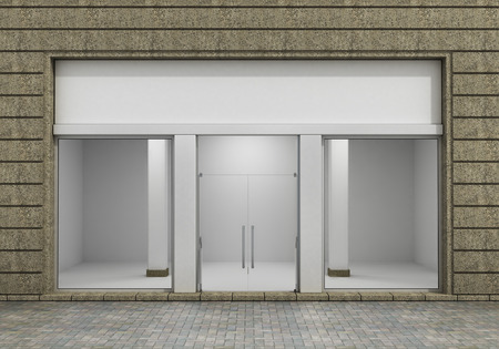 store: Modern Empty Store Front with Big Window. Stock Photo