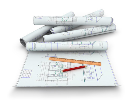 engineering design: Scrolls of engineering drawings. Isolated render on a white background