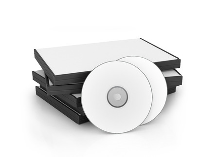 disks: DVD, CD box with disks isolated on a white background