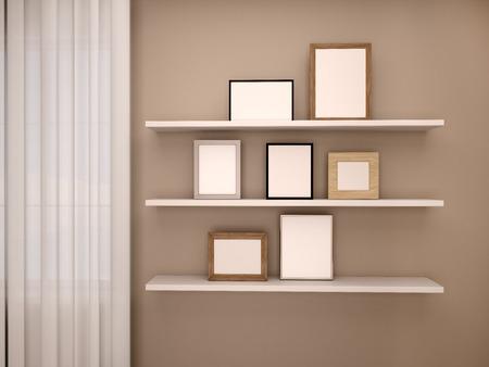 estantes de madera ilustracin d de bao moderno con estantes de madera