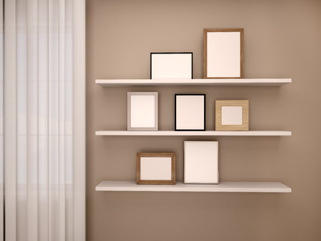 3d illustration of modern bathroom with wooden shelves