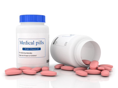 reliever: Two white jars with pink tablets Stock Photo