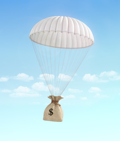falling money: Concept of fast money. Money for help. Money transfer. Money bag falling on the parachute on a sky background. Payment.