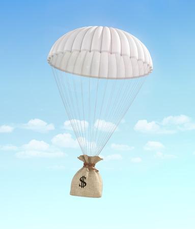 pieniądze: Koncepcja szybkiego pieniędzy. Pieniądze na pomoc. Przelew pieniędzy. Worek pieniędzy spada na spadochronie na tle nieba. Płatność. Zdjęcie Seryjne