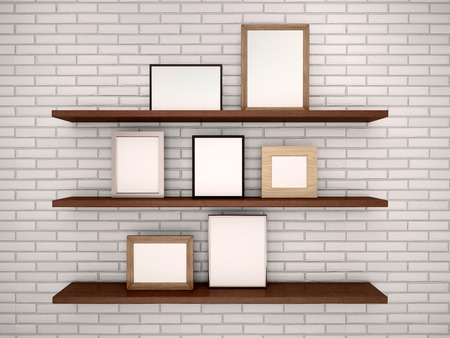 rack mount: 3d illustration of empty frames on the shelves against a brick w Stock Photo