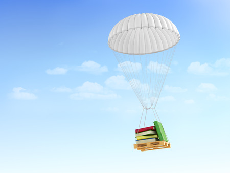 Concept of fast FAQ. Help information. Books on the pallet, falling on the parachute on a sky background. Stock Photo
