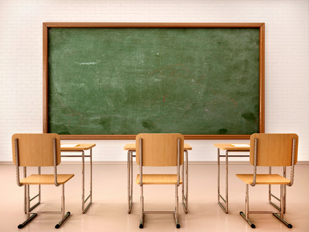 exams: 3d illustration of bright empty classroom for lessons and training Stock Photo
