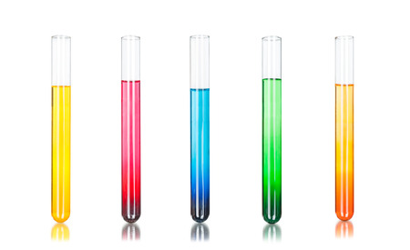 Colored liquids in five test tubes isolated over white background Banco de Imagens