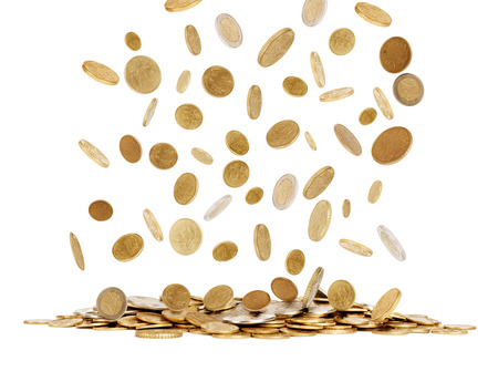 falling gold coins isolated on white background Stock Photo
