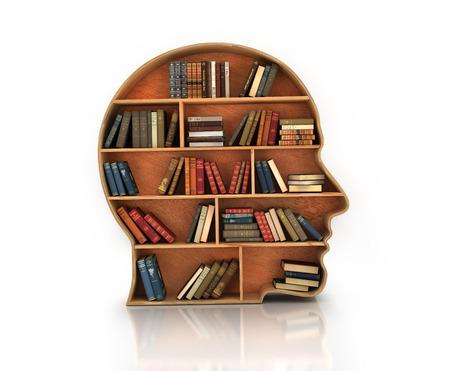 Holz Bücherregal in der Form eines menschlichen Kopfes und Bücher mit Reflexion Lizenzfreie Bilder